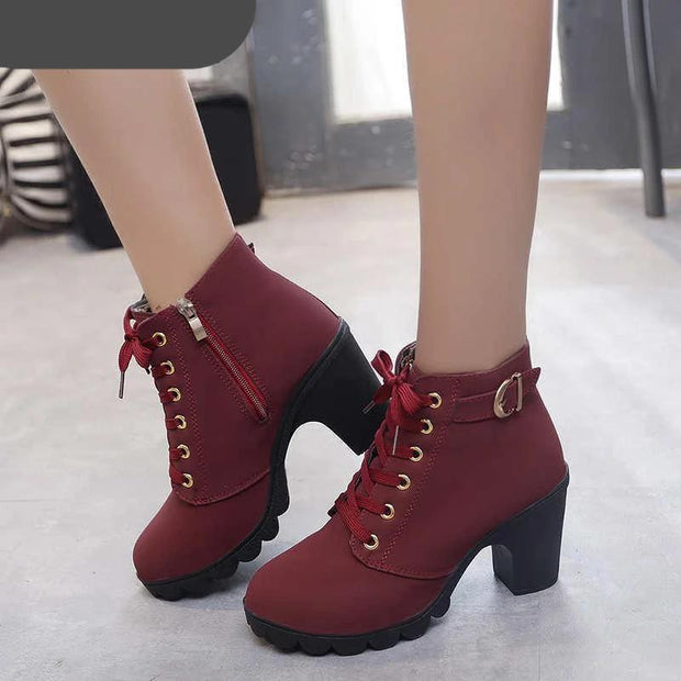 Women's Waterproof High Heels Snow Boots
