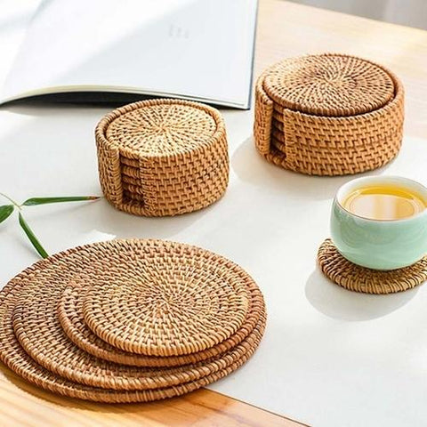 Placemat Pad Coasters in Rattan