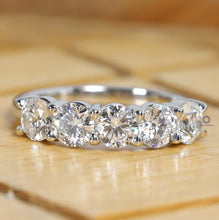 Load image into Gallery viewer, 5 Stone Daily Wear Ring/ Round Lab Grown Diamond Ring/ Best Proposal Gold Ring