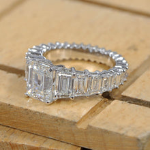Load image into Gallery viewer, Step Cut Tapper Baguette Ring / Emerald Lab Grown Diamond Ring