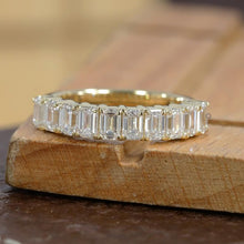 Load image into Gallery viewer, 14k Yellow Gold Diamond Ring/ Emerald Diamond Eternity Ring