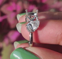 Load and play video in Gallery viewer, Pear Diamond Mount Ring/ Two Stone Lab Grown Diamond Ring/ 14KT Solid Gold Custom Ring