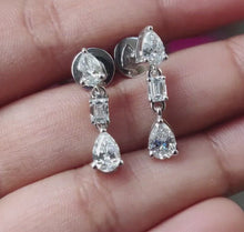 Load and play video in Gallery viewer, Bridal Diamond Earrings/ Pear Cut Diamond Dangle Earrings/ Lab Grown Diamond Drop Earrings