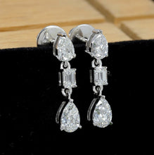 Load image into Gallery viewer, Bridal Diamond Earrings/ Pear Cut Diamond Dangle Earrings/ Lab Grown Diamond Drop Earrings