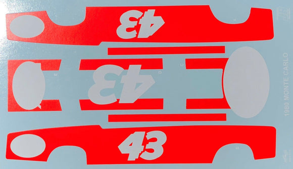 1/25 Salvinos JR Vermilion #1 Decal Sheet for Richard Petty 1980 Monte Carlo
