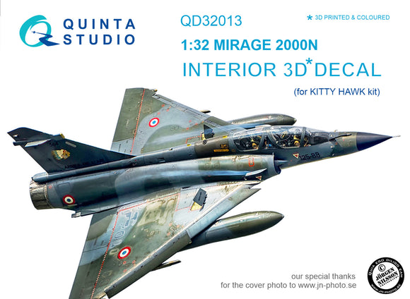 1/32 Mirage 2000N 3D-Printed & coloured Interior on decal paper (for Kitty Hawk  kit)
