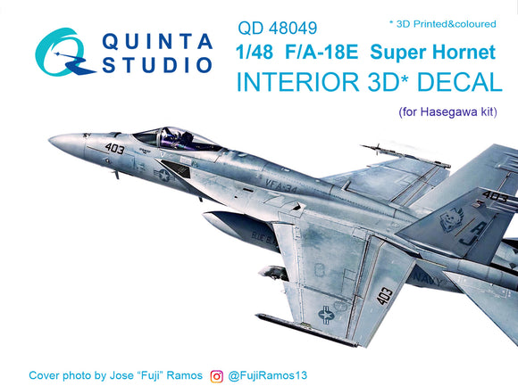1/48 F/A-18E 3D-Printed & coloured Interior on decal paper (for Hasegawa kit)