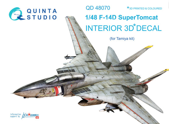 1/48 F-14D 3D-Printed & coloured Interior on decal paper (for Tamiya kit)
