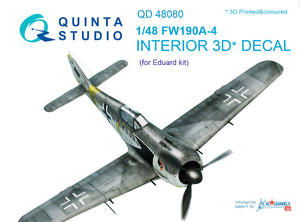 1/48 FW 190A-4 3D-Printed & coloured Interior on decal paper (for Eduard  kit)