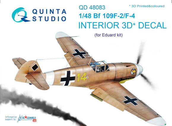 1/48 Bf 109F-2/F-4 3D-Printed & coloured Interior on decal paper (for Eduard kit)