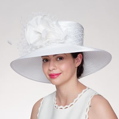 Wide Satin Ribbon Silk Flower Veil Trim Hat 321891