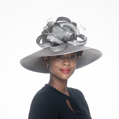 Wide Satin Ribbon Hat 326556 in Grey