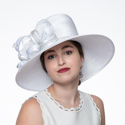 Wide Satin Ribbon Hat 326556 in White
