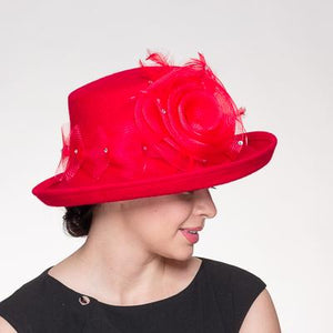 Red Crinoline Flower Trim Wool Felt Hat 400797