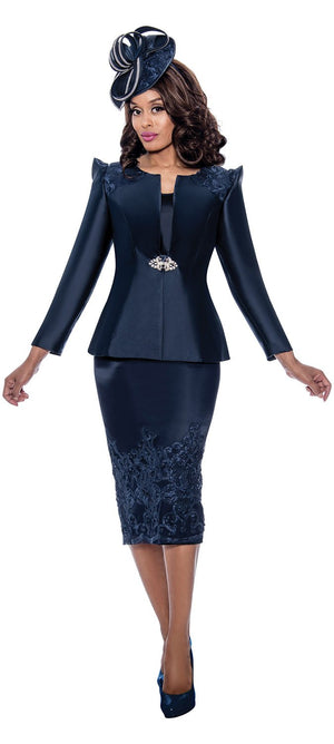 gmi, g8153, navy skirt suit