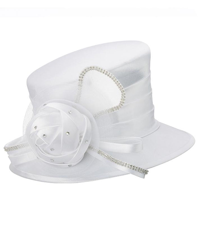 Giovanna Small Brim Satin Fabric Hat HM974