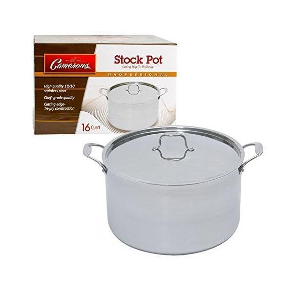 Cameron's 16 Quart Tri-ply Stainless Steel Stock Soup Pot with Stainless Steel Lid - Faraday's Kitchen Store