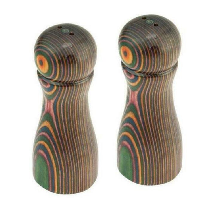 Island Bamboo Rainbow Pakkawood Salt and Pepper Shaker Set