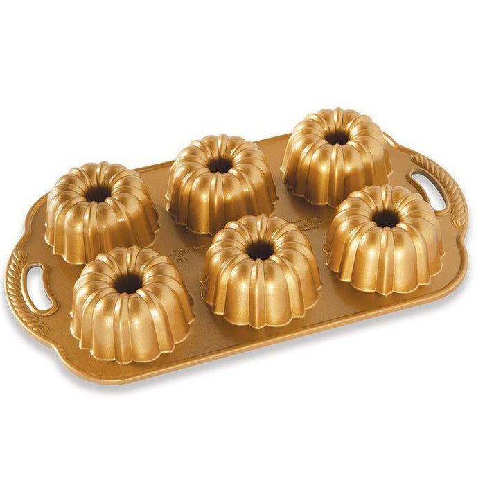 Nordic Ware Anniversary Bundtlette Pan with Gold Nonstick Finish - Faraday's Kitchen Store