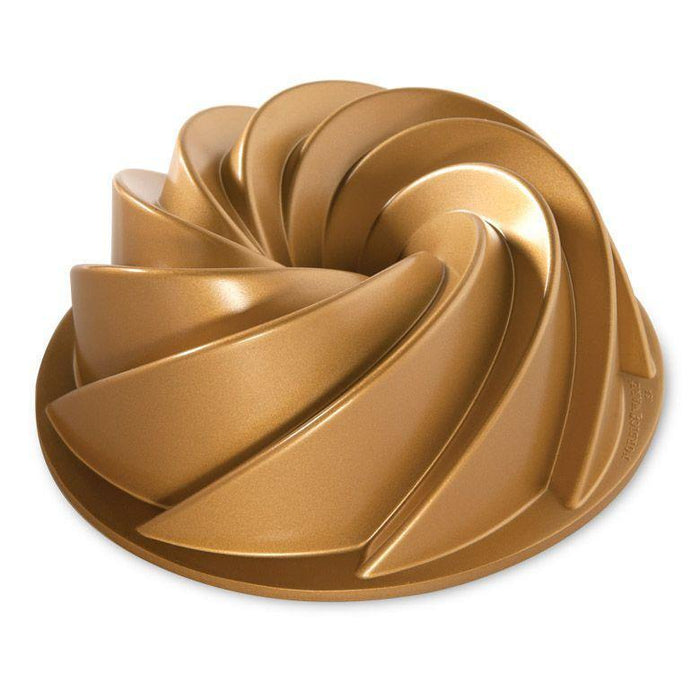 "Nordic Ware Heritage ""Swirl"" 10-Cup Bundt Pan with Gold Nonstick Finish - Faraday's Kitchen Store"