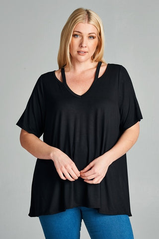 Emilia - Cut Out V-Neck Short Sleeve Top
