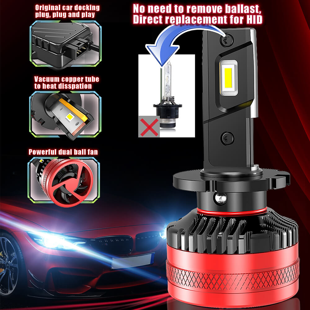 D1/D2/D3/D4 F5 LED Headlight 55W 10000LM 6500K