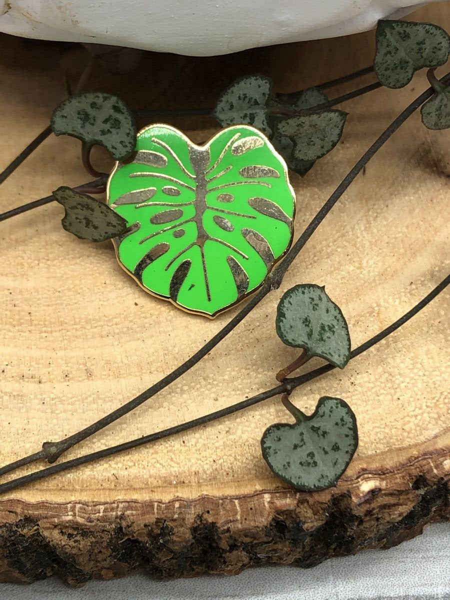 Hard Enamel Tropical Monstera Brooch