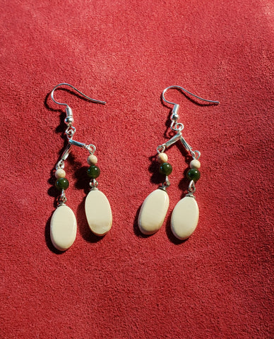 The finished product, as set of Pumpkin Seed Earrings. - SOLD !!!