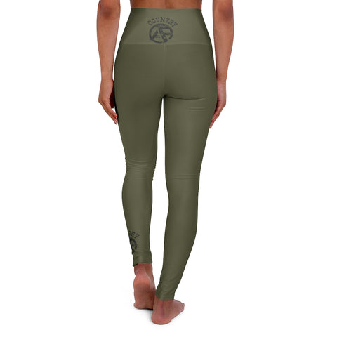 High Waisted Yoga Leggings - Dark Camo Green - Black Weathered Logo
