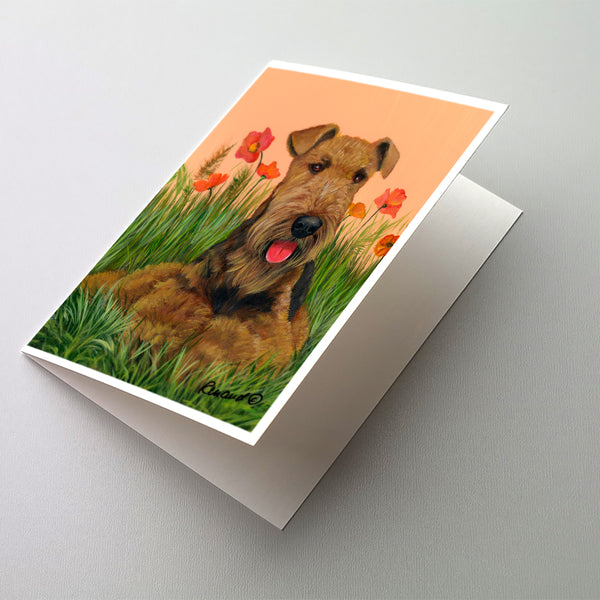 Buy this Airedale Terrier Poppies Greeting Cards and Envelopes Pack of 8