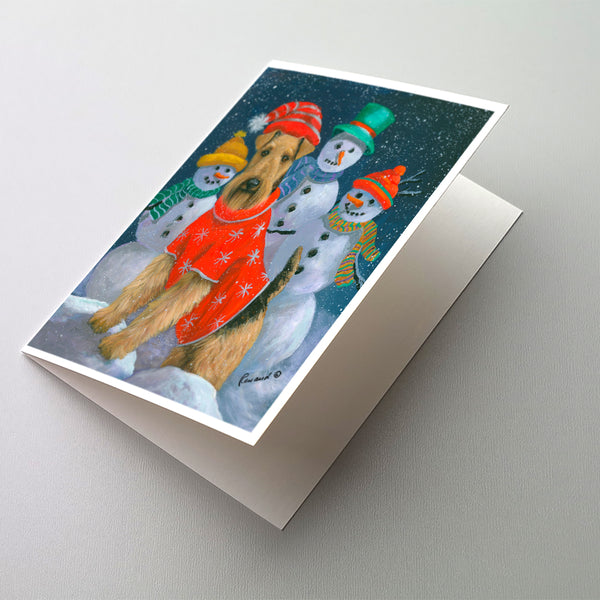 Buy this Airedale Snowpeople Christmas Greeting Cards and Envelopes Pack of 8