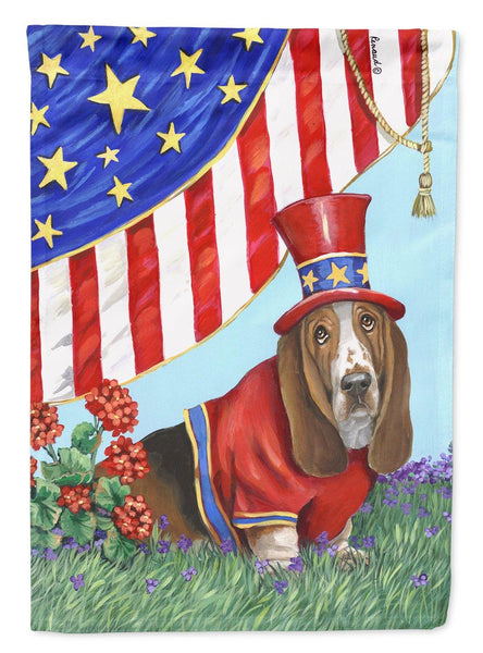Buy this Basset Hound USA Flag Canvas House Size PPP3014CHF
