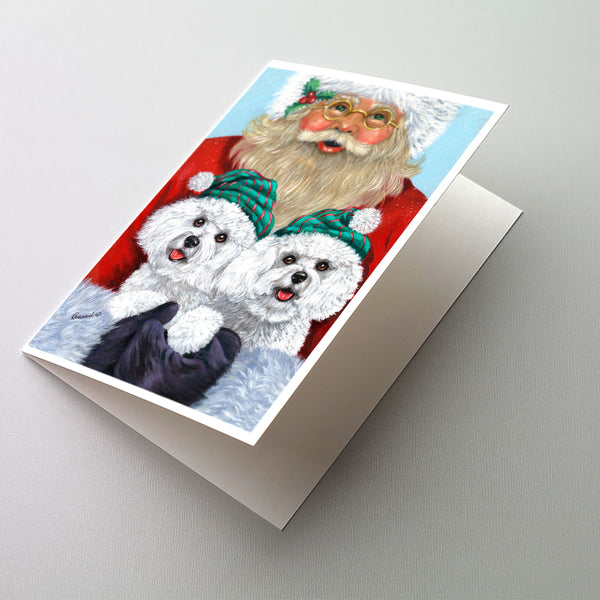 Buy this Bichon Frise Santa Christmas Greeting Cards and Envelopes Pack of 8