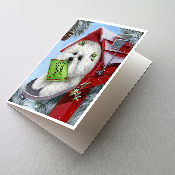 Buy this Bichon Frise Santa's List Christmas Greeting Cards and Envelopes Pack of 8