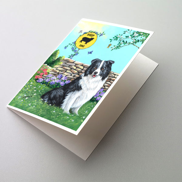 Buy this Border Collie Crossing Greeting Cards and Envelopes Pack of 8
