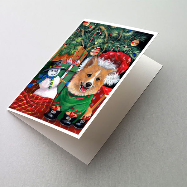Buy this Corgi Under my Christmas Tree Greeting Cards and Envelopes Pack of 8