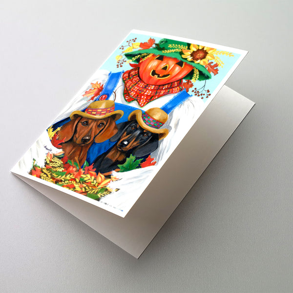 Buy this Dachshund Fall Scarecrow Greeting Cards and Envelopes Pack of 8