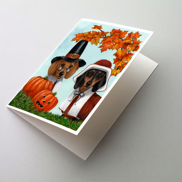 Buy this Dachshund Thanksgiving Pilgrims Greeting Cards and Envelopes Pack of 8