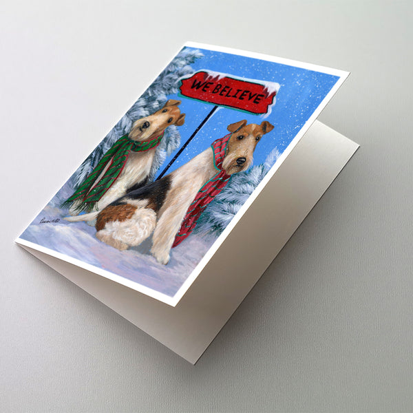 Buy this Fox Terrier Christmas We Believe Greeting Cards and Envelopes Pack of 8