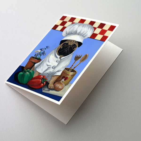 Buy this Pug Veggie Chef Greeting Cards and Envelopes Pack of 8