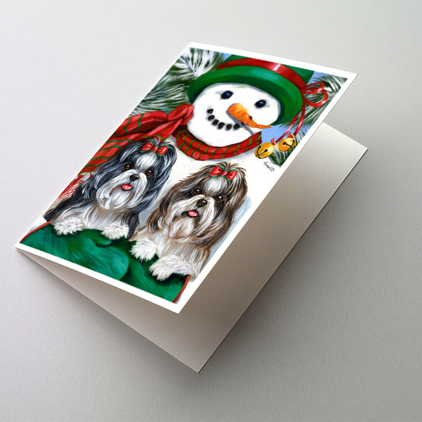 Buy this Shih Tzu Christmas Snowman Greeting Cards and Envelopes Pack of 8