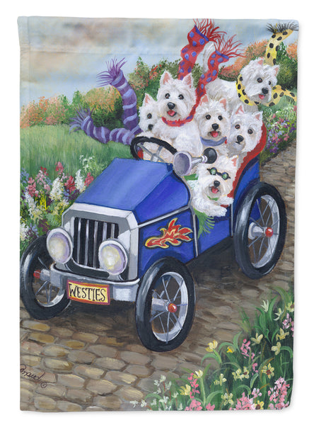 Buy this Westie Hot Rod Flag Garden Size PPP3209GF