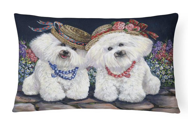 Buy this Bichon Frise Sisters Canvas Fabric Decorative Pillow PPP3247PW1216