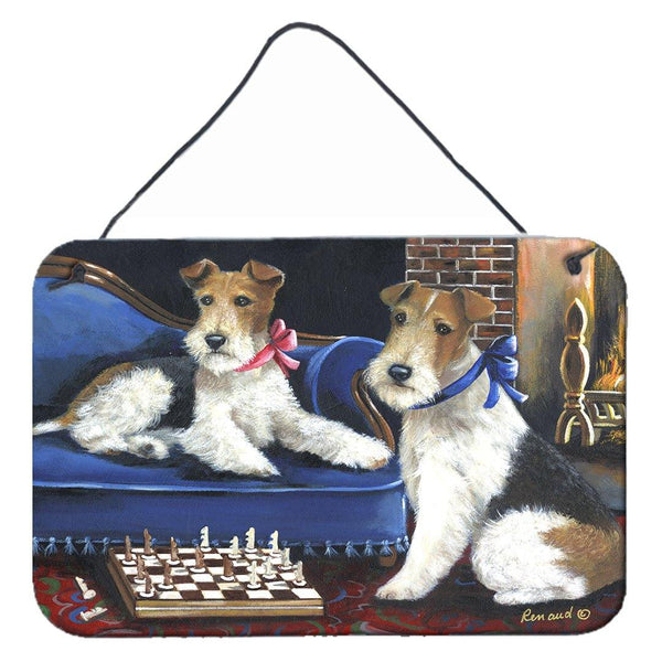 Buy this Fox Terrier Checkmates Wall or Door Hanging Prints PPP3261DS812