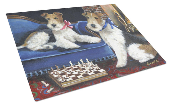 Buy this Fox Terrier Checkmates Glass Cutting Board Large PPP3261LCB
