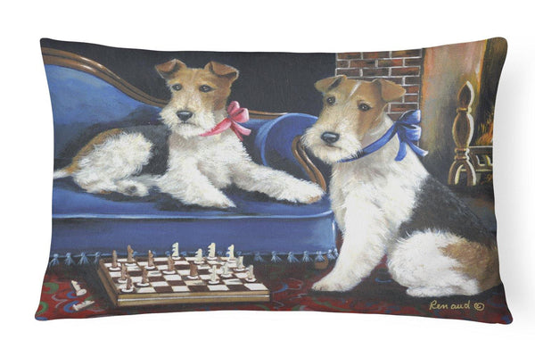 Buy this Fox Terrier Checkmates Canvas Fabric Decorative Pillow PPP3261PW1216