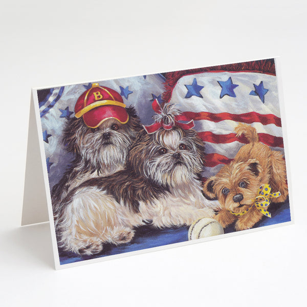 Buy this Shih Tzu Americana Sweethearts Greeting Cards and Envelopes Pack of 8