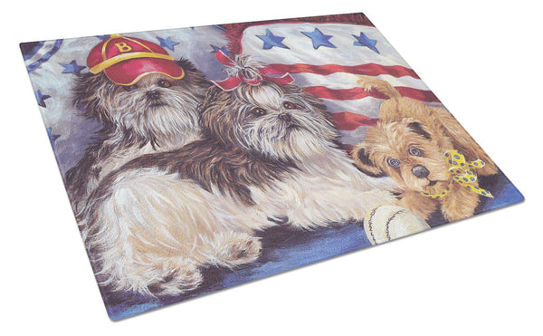 Buy this Shih Tzu Americana Sweethearts Glass Cutting Board Large PPP3273LCB