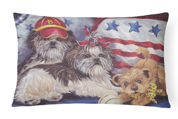 Buy this Shih Tzu Americana Sweethearts Canvas Fabric Decorative Pillow PPP3273PW1216
