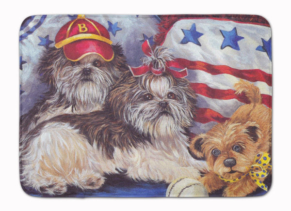 Buy this Shih Tzu Americana Sweethearts Machine Washable Memory Foam Mat PPP3273RUG